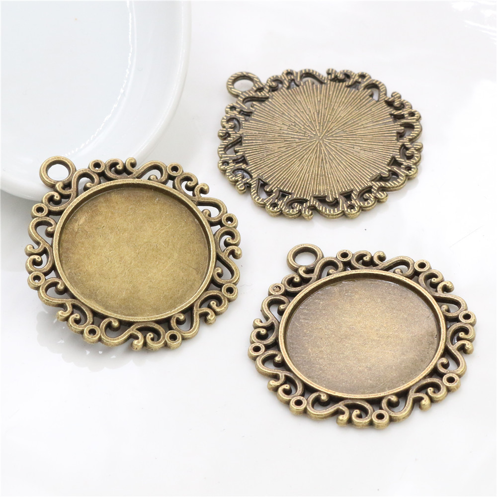 New Fashion  3pcs 25mm Inner Size Antique Bronze Fashion Style  Cabochon Base Setting Charms Pendant (A3-07)