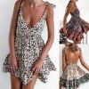 Sexy Deep V Neck Backless Leopard Print Mini Woman Dress 2021 Summer Sleeveless Beach Dresses For Women Plus Size Femme Robe 1