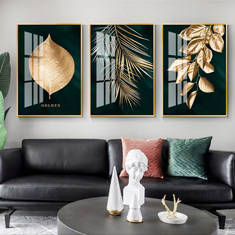 Golden Plant Leaves Abstract Picture Wall Poster Modern Style Canvas Print Art Painting for Aisle Living Room Unique Decoration