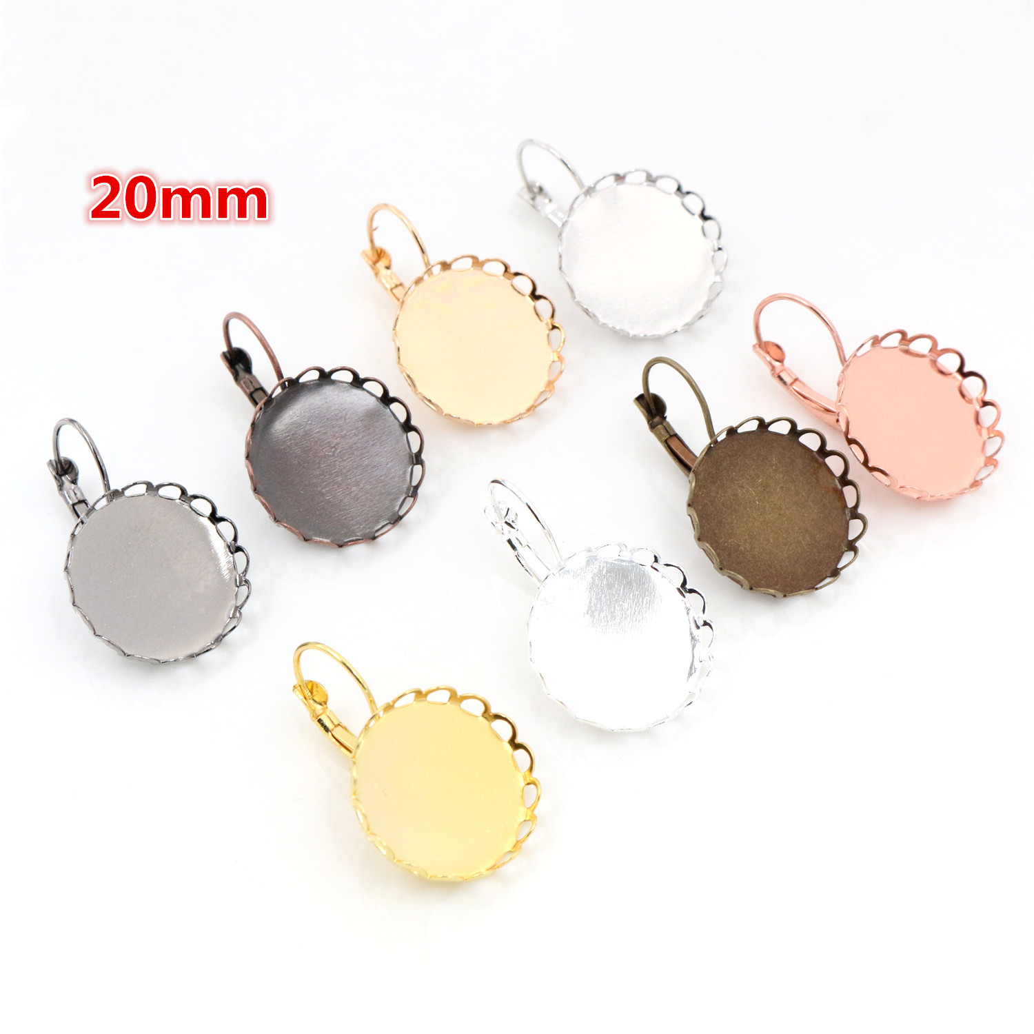 20mm 10pcs/Lot 8 Colors Plated French Lever Back Earrings Blank/Base,fit 20mm Glass Cabochons,buttons;earring Bezels