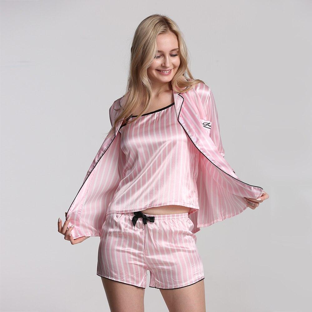 Image 4 - 7 piezas pijamas de ropa de dormir para mujeres Sexy Lencería conjunto de pijama de seda de satén para mujeres Primavera Verano otoño ropa de dormir suave-in Sets de pijamas from Ropa interior y ropa de dormir on AliExpress