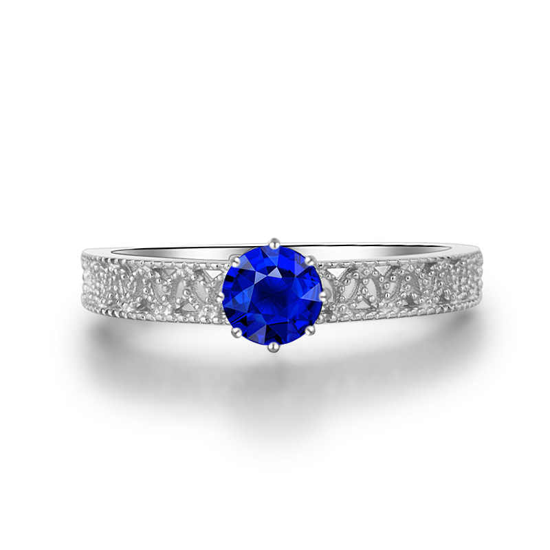 Yanhui Putri Diana William Kate Lab Safir Batu Permata Cincin untuk Wanita Pernikahan Pertunangan Band Perak 925 Perhiasan R060