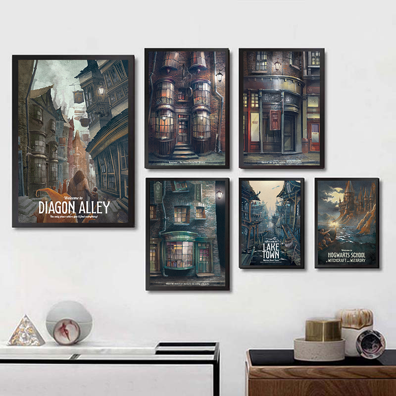 Hogwarts Castle Movie Poster Wall Art Painting Harries Posters And Prints For Room Decorative Potteres Home Decor
