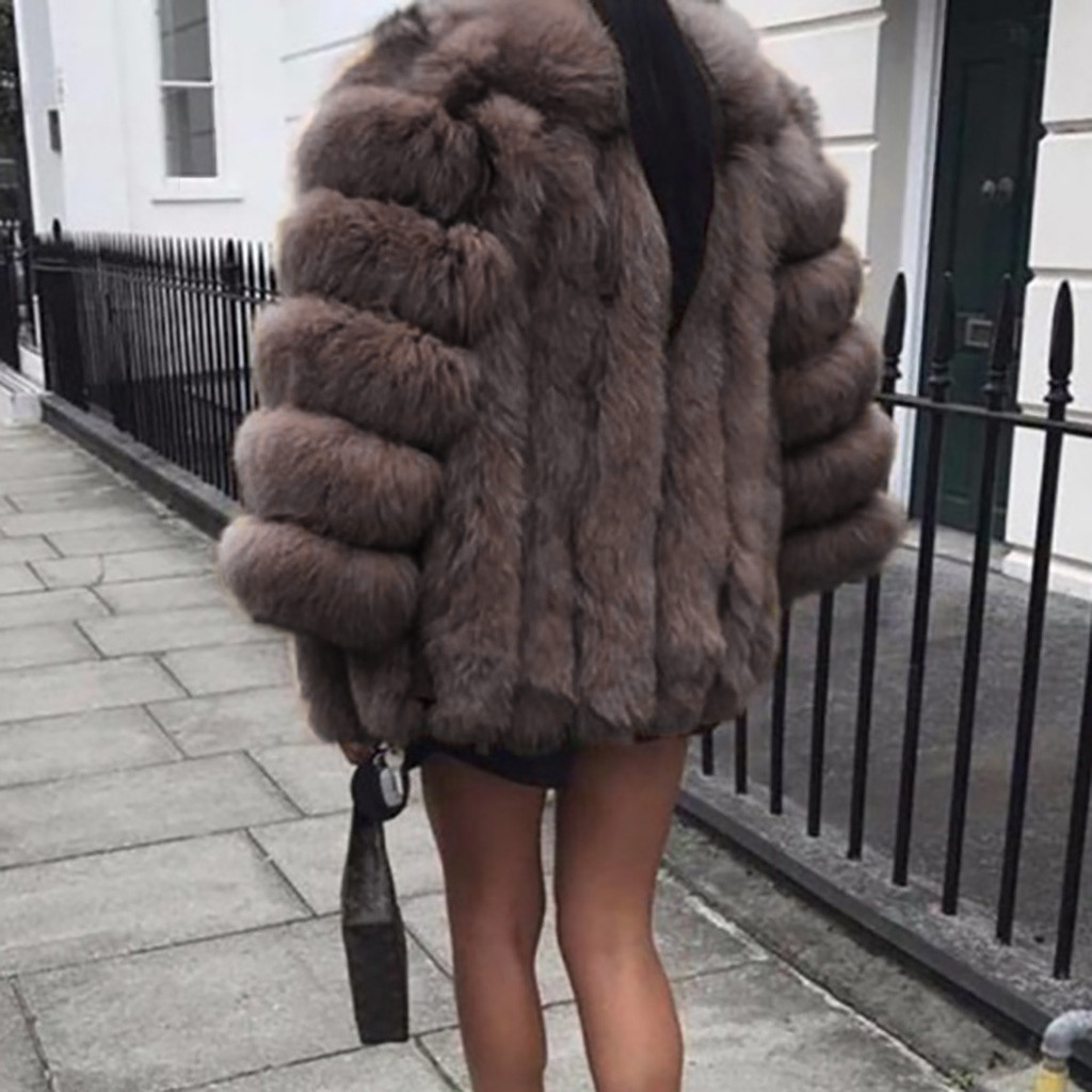 Plus Size 5XL Women Fur Coat Winter Warm Plush Coat Luxury Soft Fur Jacket Coat High Quality Women Thick Faux Fur Coat