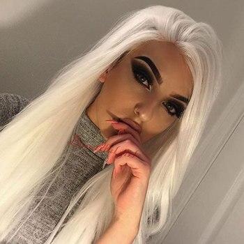Cabelo de fibra resistente ao calor longo em linha reta cor branca sintética 13*4 perucas da parte dianteira do laço médio para drag queen cosplay maquiagem