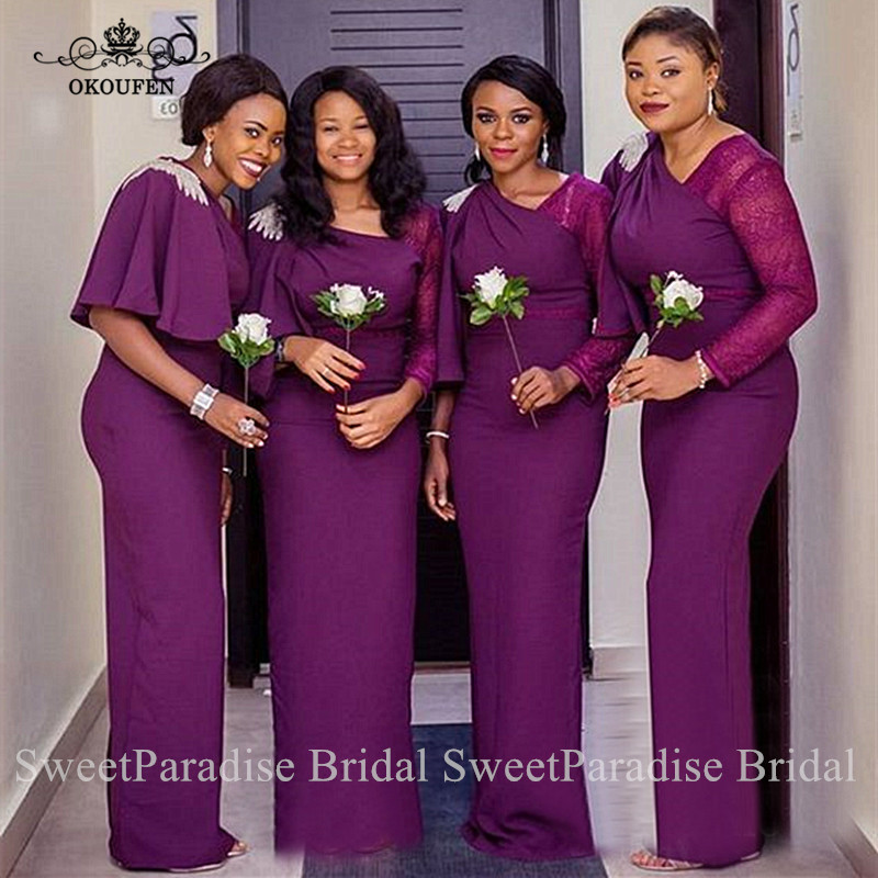 Middle East Women Purple Bridesmaid Dresses With Beads Ruffles Sheer Lace Long Sleeves Wedding Guest Dress Party Gown