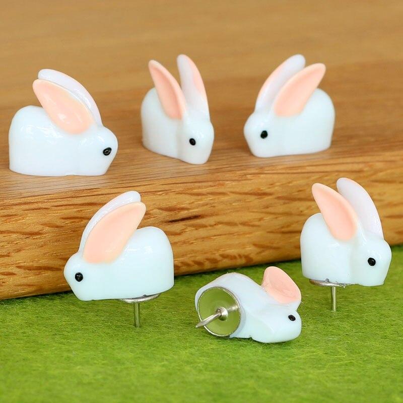 12pcs Plastic Push Pins Cute Kawaii Bunny Thumbtacks Decorative Thumb Tacks Creative Modeling Cork Board Photo Wall Map Pins