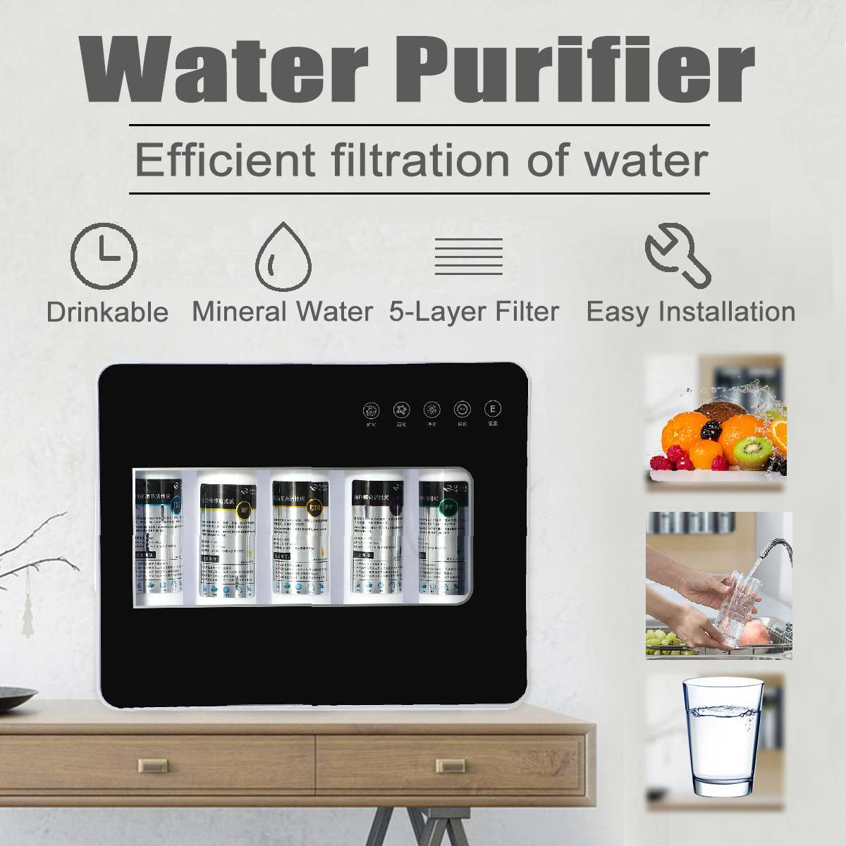 Quick Connect 5- Layer Water Filter Directly Drinkable Home Kitchen Reverse Osmosis Replacement Water System Water Purifier
