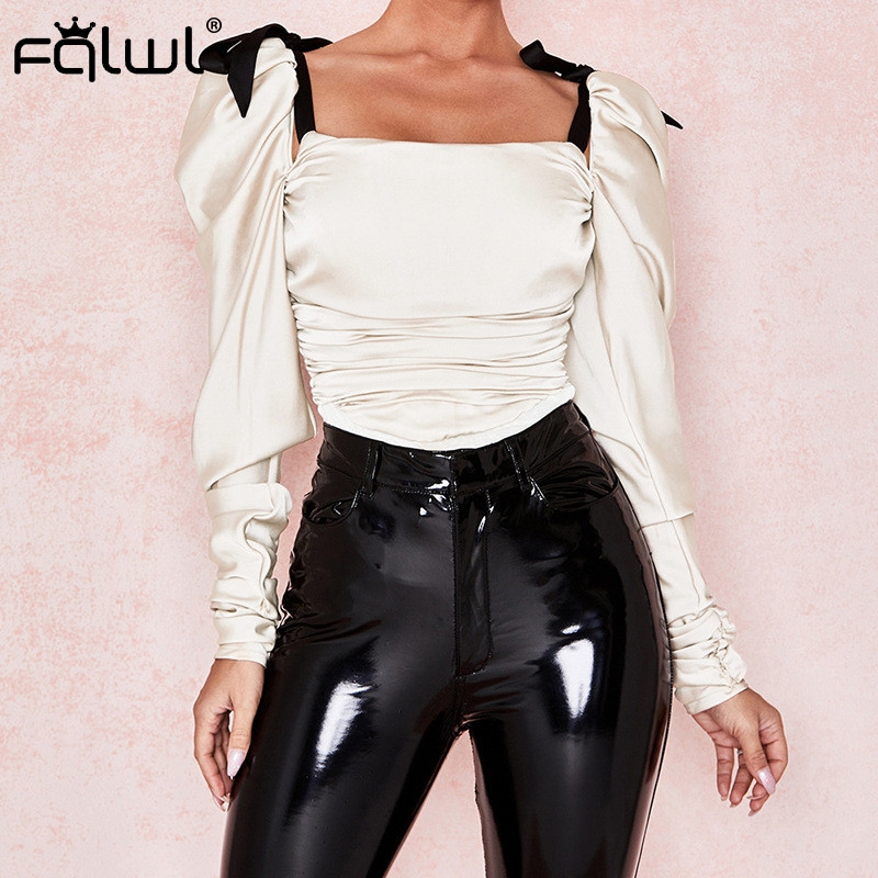 FQLWL Lace Up Strap Bandage Pleated Sexy Bodysuit Women Tops Summer Romper Ruched Backless Long Sleeve Bodycon Bodysuit Female