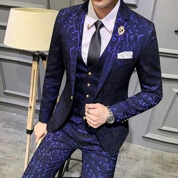 Luxury Men Suit Sets Latest Coat Pant Vest Design Dress Suits Floral Slim Men's Groom Tuxedo Suit Royal Blue Burgundy Men Suits