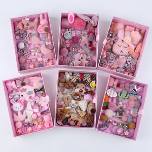 18/24 Pcs/Set Children Hair Clip Set Baby Head flower Fabric Bow Barrettes Hair clips Girl Elastic hair Headband Headdress Gift(China)