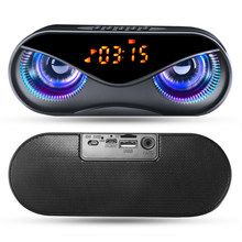Bluetooth Lautsprecher Cool Eule Design LED-Blitz Tragbare Drahtlose Lautsprecher TF Karte FM Radio Wecker TV Bass Smart Display m6(China)