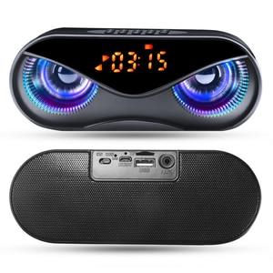 Bluetooth Speaker Cool Owl Design LED Flash Portable Wireless Loudspeaker TF Card FM Radio Alarm Clock TV Bass Smart Display M6(China)