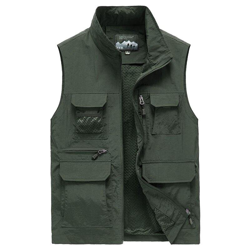 Large Size Outdoor Mesh Multi Pocket Vest Men Waterproof Photography Sleeveless Jacket Reporter Waistcoat M 5XL Plus Size 6XL7XL