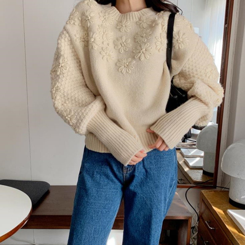 Alien Kitty Fashion Loose Knit Jumper Lantern Sleeve Knitted Sweater Women Vintage Thick Soft Embroidery Flower Pullovers Coat