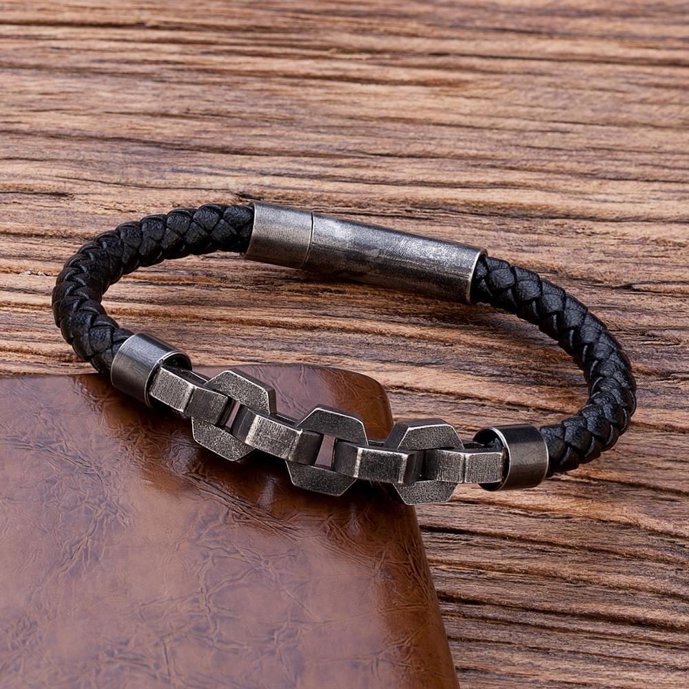 TANGYIN Retro Punk Style Men's Bracelet Bicycle Motorcycle Stainless Steel Chain Bracelet Black Quality Leather Bracelet for Men