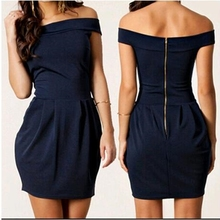 New Tube Top Bodycon Dress Back Zipper Solid Navy Blue Sexy Evening Party Dresses Casual Beach Office Female Summer Robe Femme