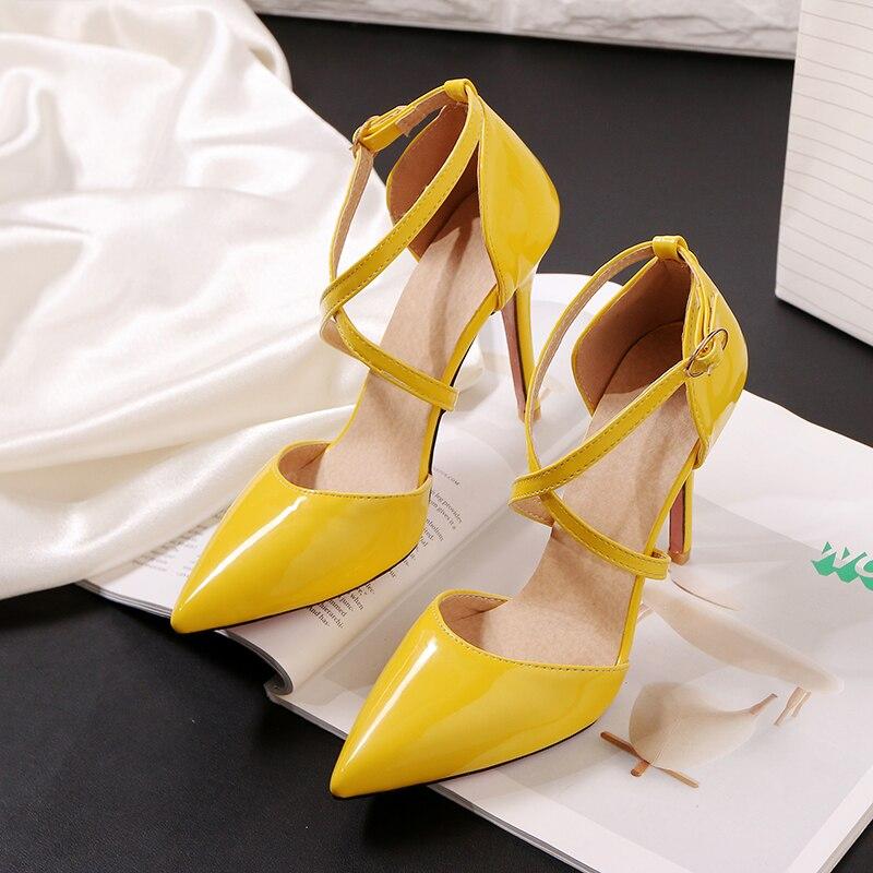 Sandales à talons fins et pointus en cuir verni pour femmes, chaussures décontractées et Sexy à talons hauts, grandes et petites tailles, 32,33 – 47