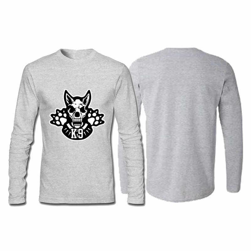 男性のサッカーシャツオフホワイトジムクチュールヒップホップ綿 100% のプリント Tシャツ K9 スカル長袖 Tシャツリルのぞき見