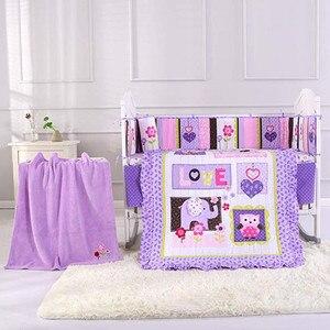 8 sztuk fioletowy pościel do łóżeczka zestawy dla dziewczynek łóżeczko dziecięce wystrój pokoju pościel do pokoiku dziecięcego, (4 zderzak + kołdra + dopasowane prześcieradło + falbanka na ramę łóżka + koc)