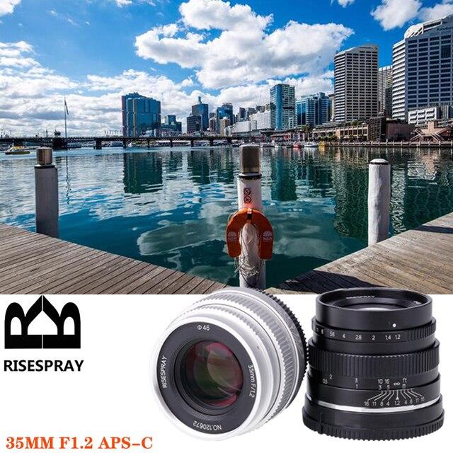 Riseshunt عدسة قياسية بفتحة كبيرة ، 35 مللي متر f/1.2 ، للكاميرا بدون مرآة ، JINGJI