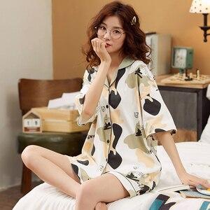 Image 1 - קריקטורה דוב נשים יאקאטה יפני קימונו פיג מה סטי 100% כותנה חלוק רחצה חליפות קצר צפצף כתונת לילה הלבשת פנאי Homewear