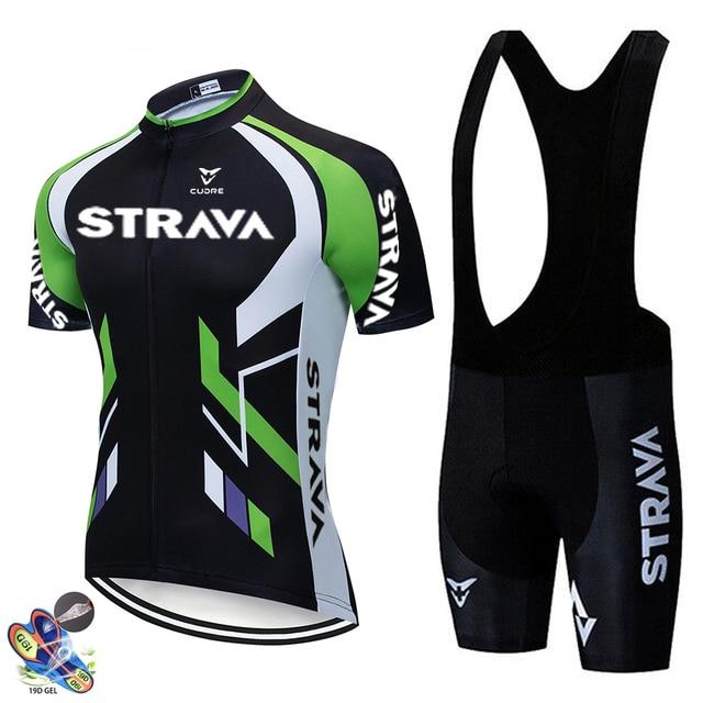 2020 nova strava verão conjunto camisa de ciclismo respirável equipe corrida esporte bicicleta jérsei dos homens roupas ciclismo curto camisa 2