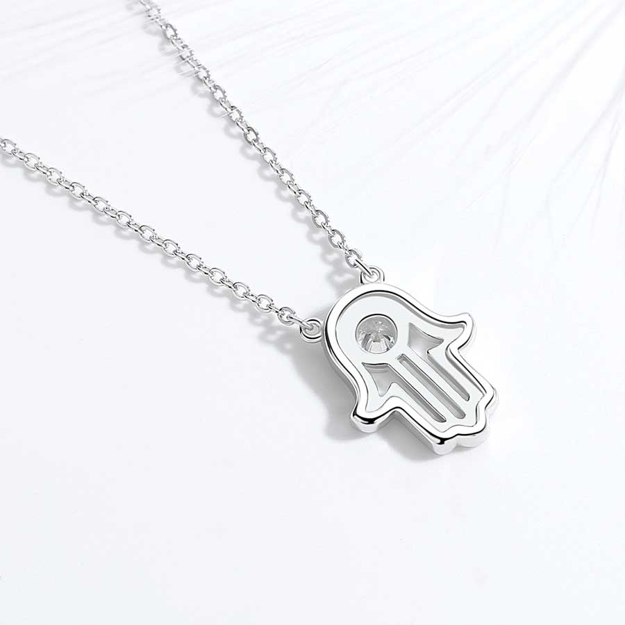 Image 4 - TONGZHE 925 sterling Silver Hand Hamsa Necklace Women Lucky Fatima Link Chain Long Initial Necklace Turkey Jewelry 2019 Choker-in Pendant Necklaces from Jewelry & Accessories