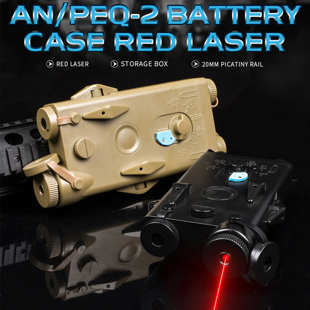 WADSN Airsoft Tactical AN peq PEQ 2 Battery Case Red Laser For 20mm Rails No Function PEQ2 Box WEX426