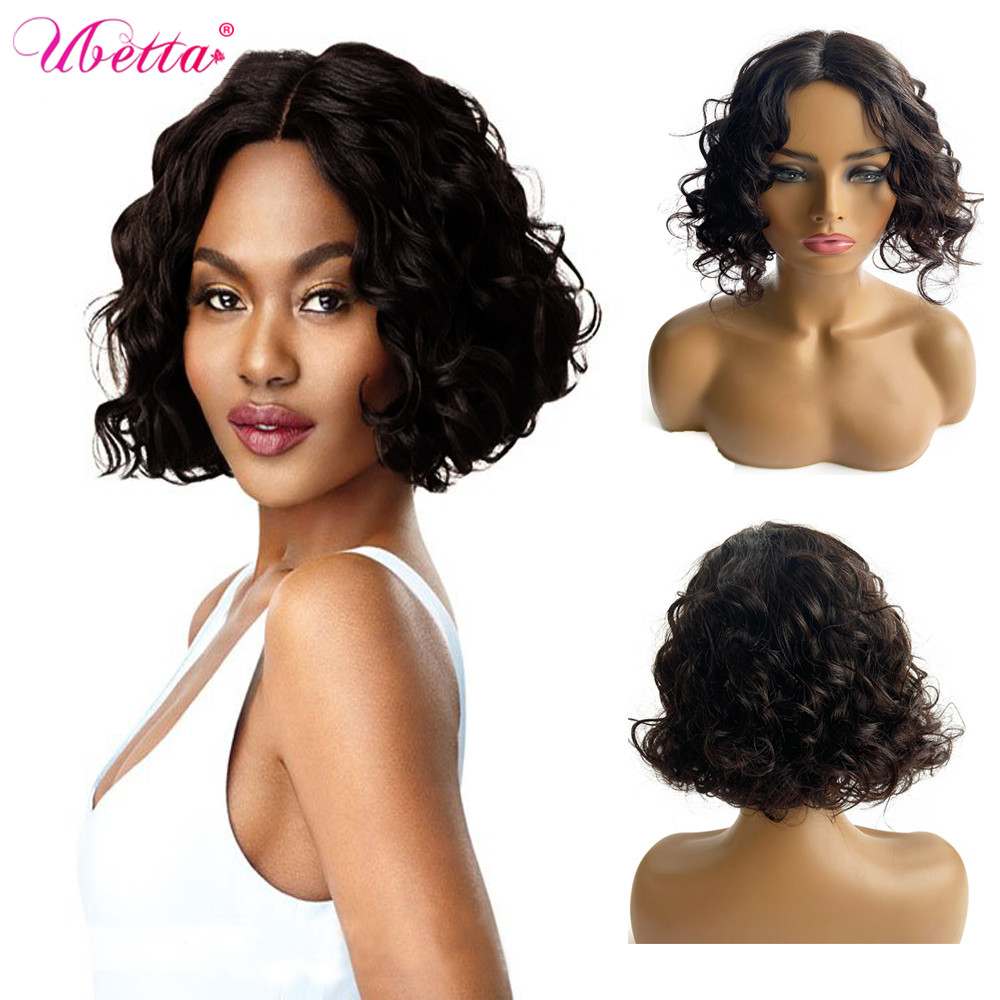 UBETTA Real Hair Wigs Cheap Short Full Machine Pixie Cut Curly Bob Wig Natural Color 1B with Bangs  Plucked For Black Women