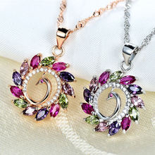 Изящное женское ожерелье с подвеской радужным кристаллом розовое