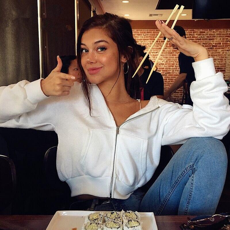 Solid Whie Long Sleeve Cotton Hoodies New Casual Ladies Fashion Sweatshirts Zipper Style Pockets Crop Hoodies Street Wear