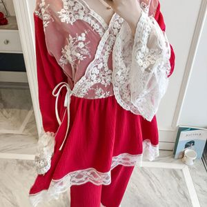 Image 2 - Patchwork dentelle mode femme coton mélange Kimono pyjamas ample à manches longues pantalon ensemble vêtements de nuit