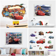 3D Window Disney Cars 3 Lightning Mcqueen Wall Stickers For Home Decor Living Room Cartoon PVC Wall Decals Mural Art DIY Poster(China)