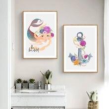 Картина на холсте мермай скандинавский декор постеры и принты