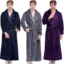 Men Winter Extra Long Thick Warm Grid Flannel Bathrobe Mens Luxury Kimono Bath Robe Women Sexy Robes Male Thermal Dressing Gown cheap RUILINGSHA CN(Origin) Regular sleeve M-58cm L-60cm XL-62cm Polyester Solid Thick Warm Robe Turn-down Collar