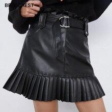 Ruffle high waist skirt mini sexy short skirts black Sash