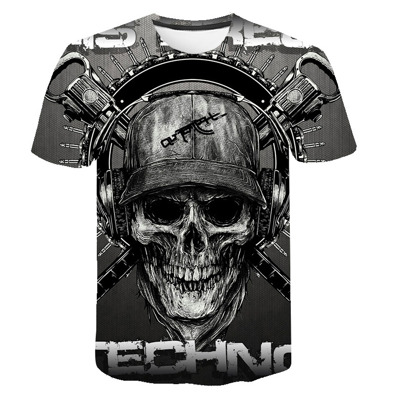 Skull T Shirt Men Skeleton T-shirt Punk Rock Tshirt Gun T Shirts 3d Print T-shirt Vintage Men Clothing Summer Tops Plus Size 6XL