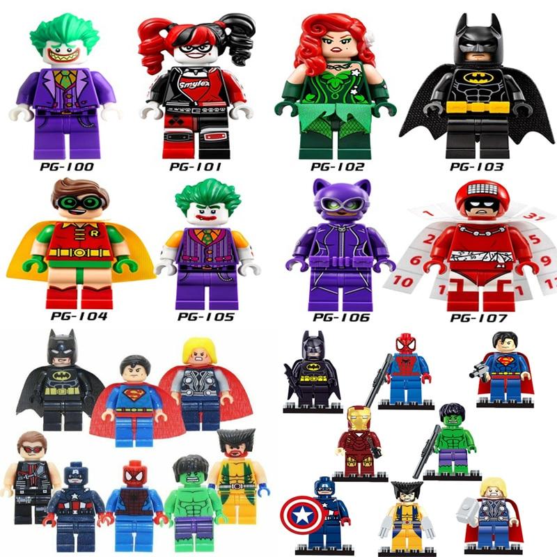 Single Legoings DC Super Heroes Joker Robin Batman Poison Ivy Spiderman Ironman Clown Catwomen Building Toys Bricks Legoings Toy