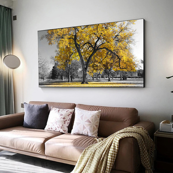 Landscape Art Painting Yellow Tree Landscape Canvas Painting Print Posters and Prints Modern Home Decoration Painting