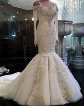 Горячая Распродажа Русалка с длинным рукавом свадебные платья