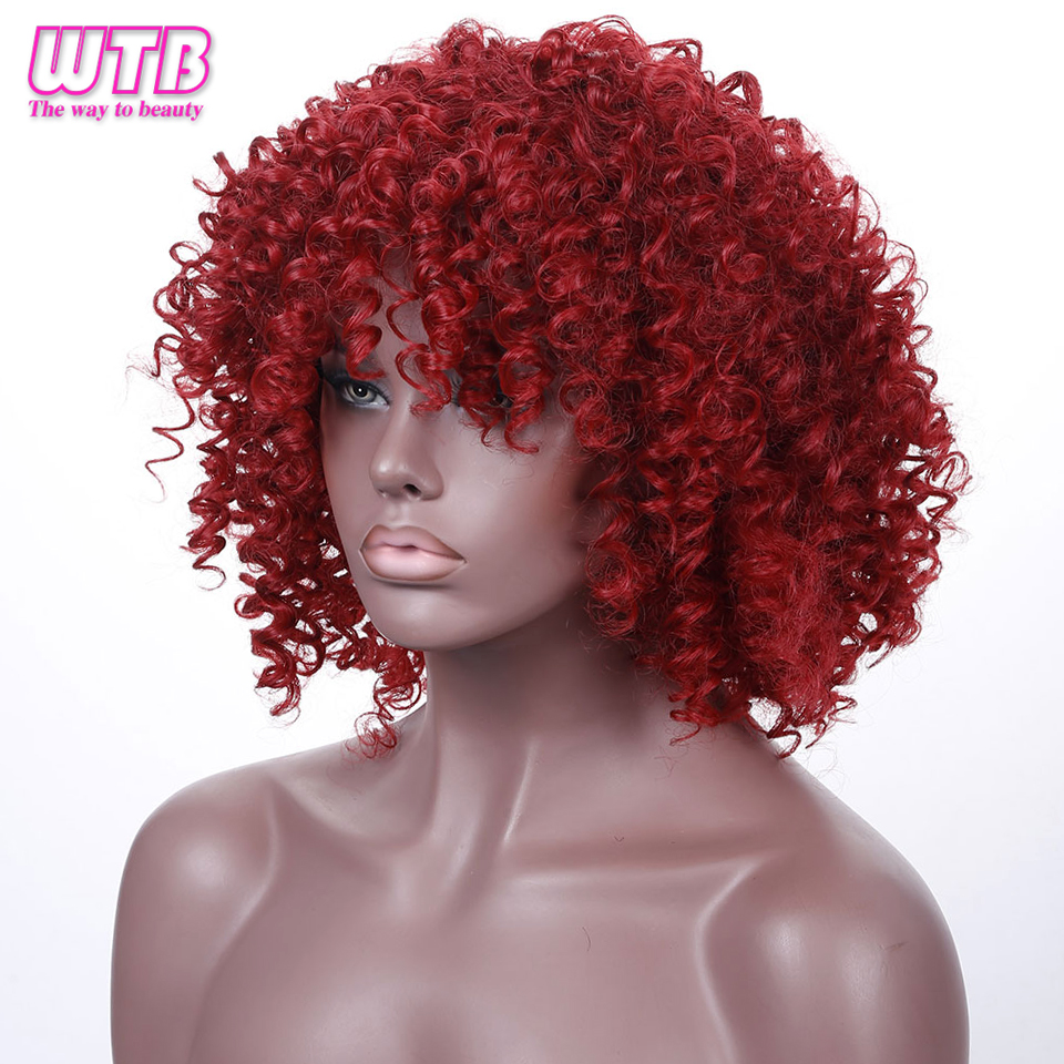 WTB Short Kinky Curly Full Wigs For Black Women Heat Resistant Synthetic Red Wigs For African Women With Wig Cap