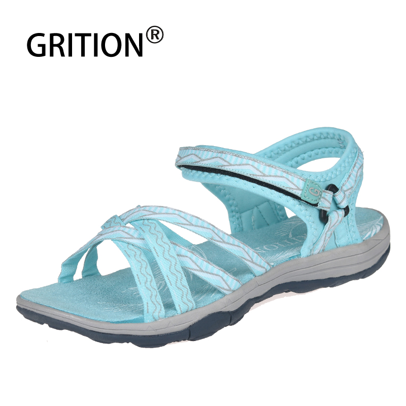 GRITION Women Sandals Summer Soft Flat Beach Shoes Outdoor Tourism Trekking Shoes Female Fashion High Quality Sandals Plus Size