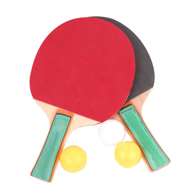 1 Pair Table Tennis Racket Ping Pong Paddle Bat With 3 Training Balls Set For Beginner Kids Adults Students Universal