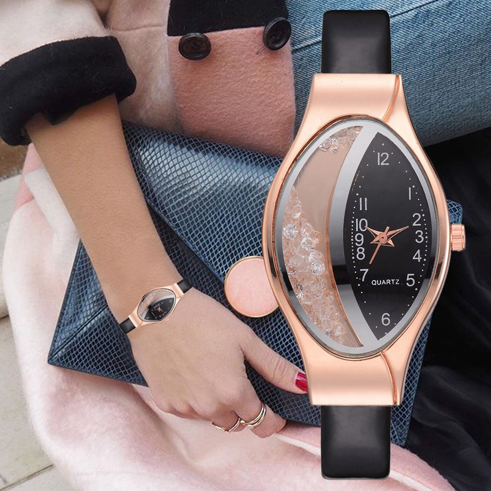 Women Fashion Luxury Watch Leather Strap Women Bracelet Clock Ellipse Rhinestone PU Sport Quartz Watch Wrist Watches For Women