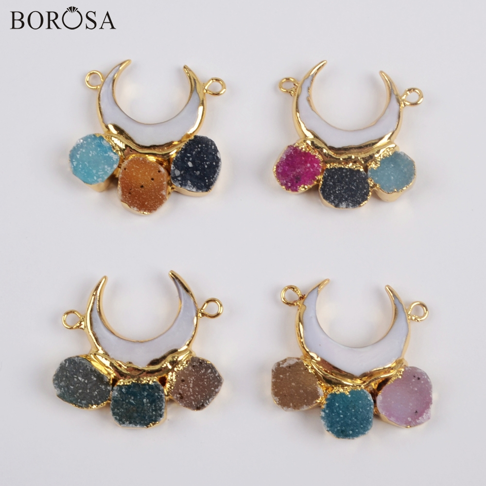 BOROSA 5Pcs 24 Crescent Gild Natural White Shell & Rainbow Agates Druzy Connector Mix Colors Drusy Jewelry Necklace G1856