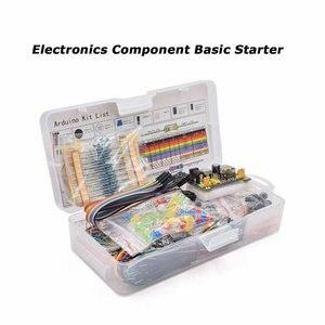 Kit surtido de componentes electrónicos para Arduino Raspberry Pi STM32 con Set de fuente de alimentación de placa de pruebas de 830 puntos de corbata