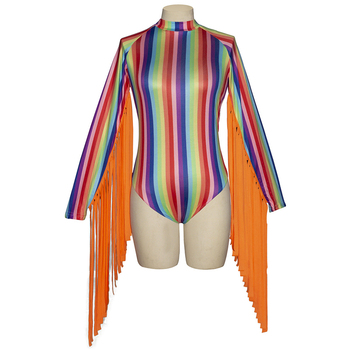 Rainbow Stripes Bodycon Bodysuit Women O Neck Long Tassels Sleeves Jumpsuits Sexy Rave Festival Clothing Fashion Party Clubwear 4