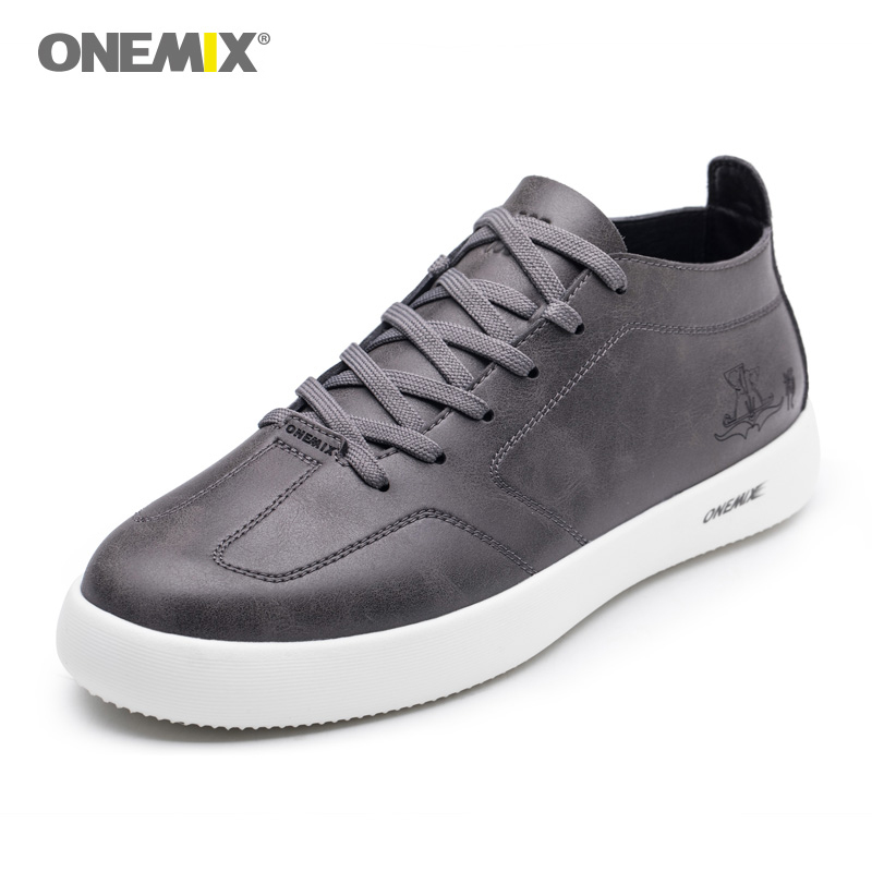 ONEMIX Men Shoes Sneakers Casual Soft Leather Skateboard Shoes Round Toe Lace Up Flat Snekaers Lightweight Jogging Shoes