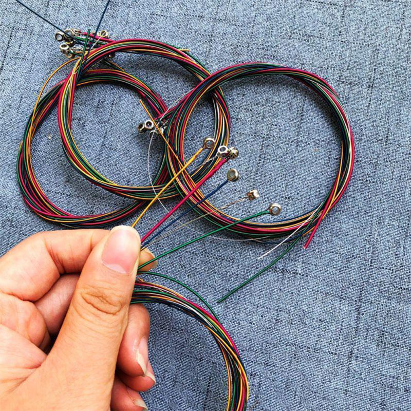 6Pcs/Set Acoustic Guitar Strings Rainbow Colorful Guitar Strings  For Acoustic Folk Guitar Classic Guitar Multi Color